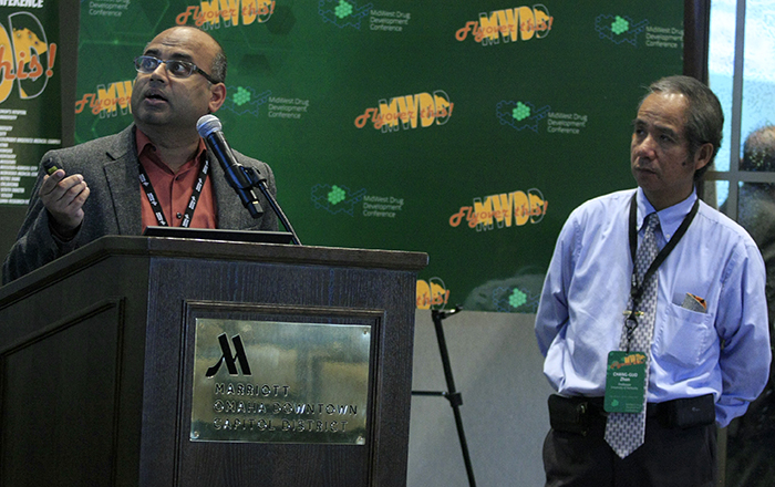 Raja Krishnan (left) and Chang-Guo Zhan at the 2019 MidWest Drug Development Conference